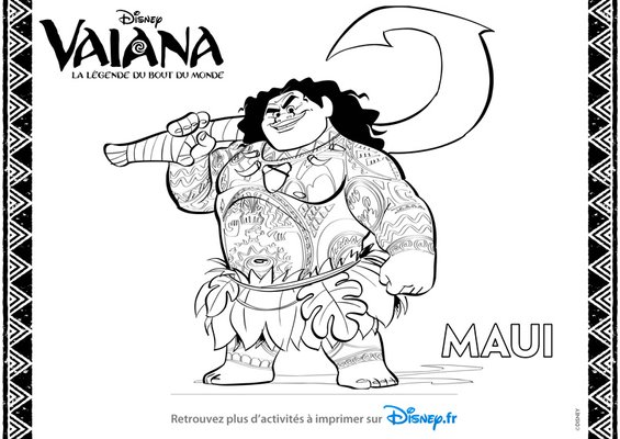 Coloriage a imprimer gratuitement disney princesses Vaiana Maui