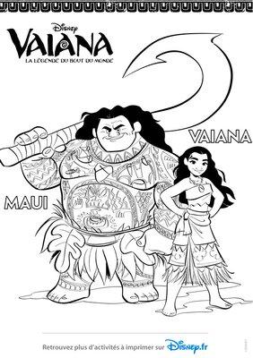 Coloriage a imprimer gratuitement disney princesses Maui Vaiana