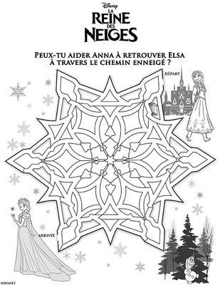 Jeux labyrinthe a imprimer gratuitement disney princesse Anna Reine de neiges