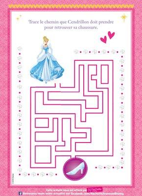 Jeux labyrinthe a imprimer gratuitement disney princesse Cendrillon