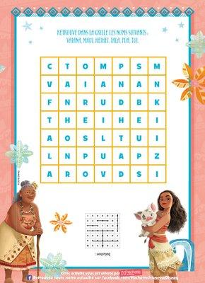 Jeux mots croises a imprimer gratuitement disney princesse vaiana
