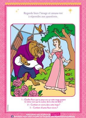 Jeux questions a imprimer gratuitement disney princesse belle et la bete