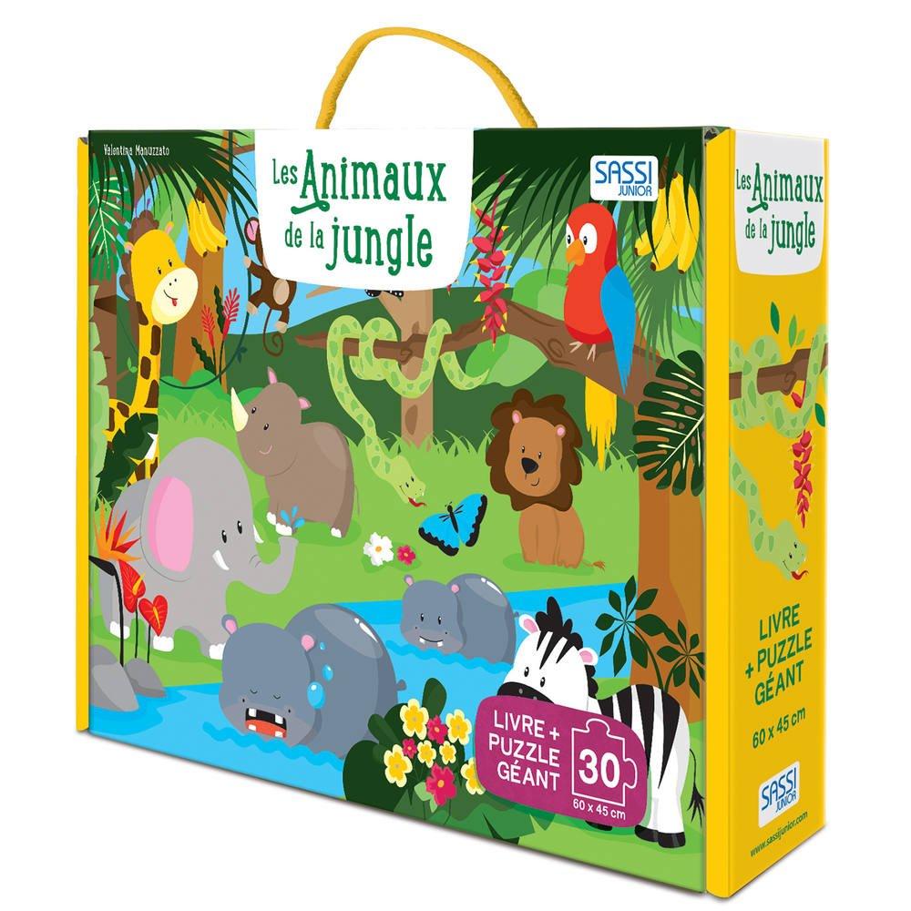 Puzzle Geant 30 Pieces Et Livre Les Animaux De La Jungle