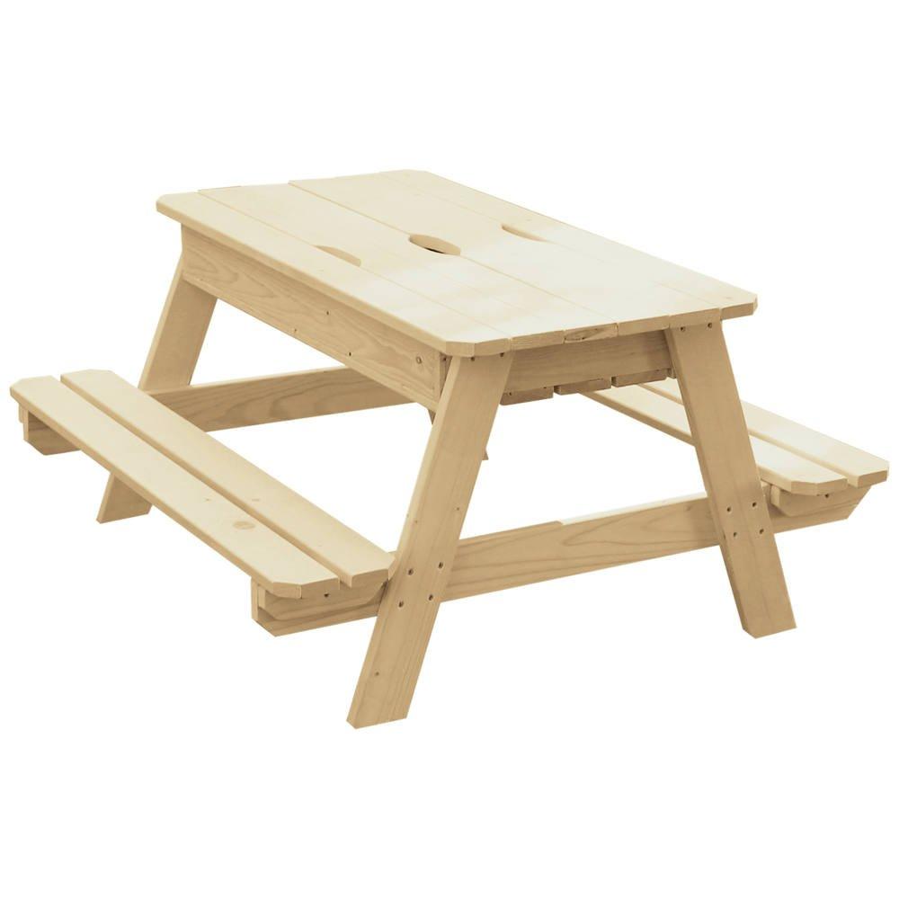 TABLE PIQUE-NIQUE ET BAC A SABLE EN BOIS AVEC COUVERCLE