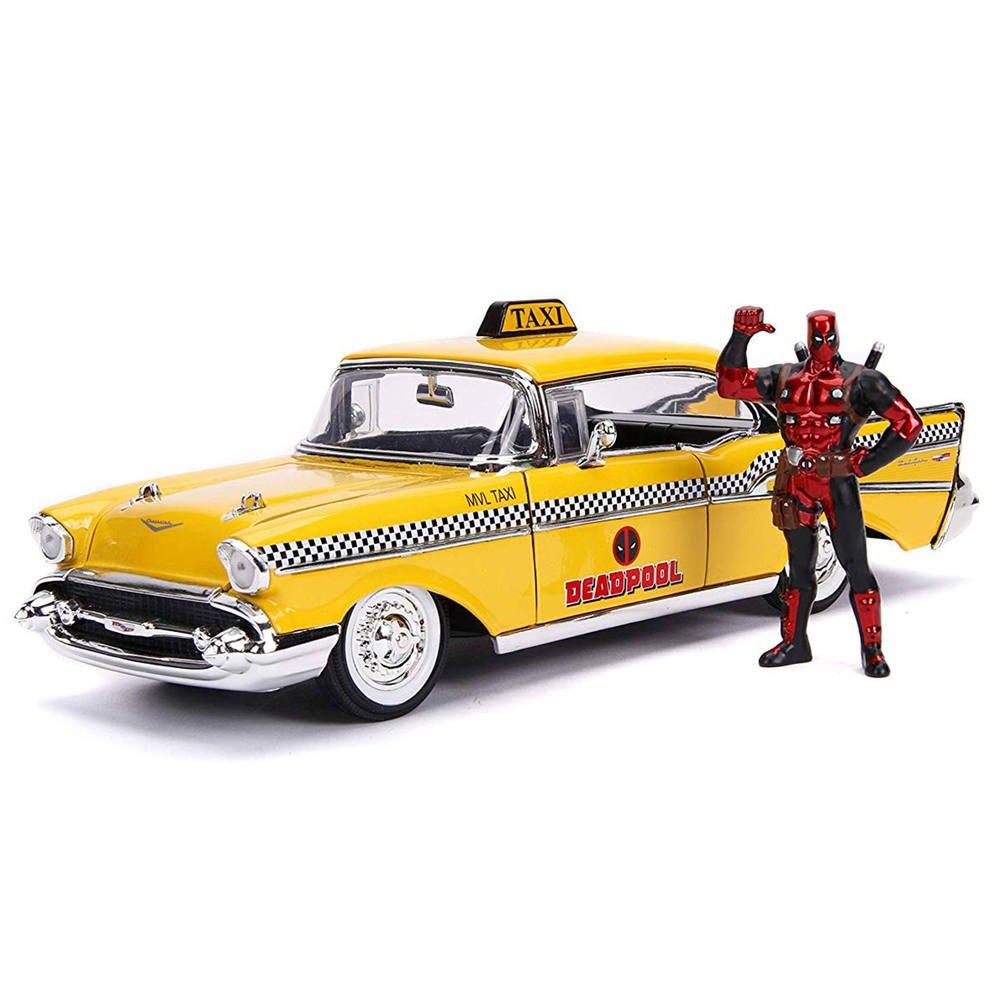 Taxi Jaune 1 24 Et Figurine Deadpool Vehicules Garages Jouéclub