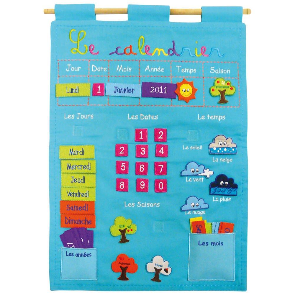 Calendrier Tissu Educatif.Panneau Calendrier Basic Bleu Jeux Educatifs Joueclub