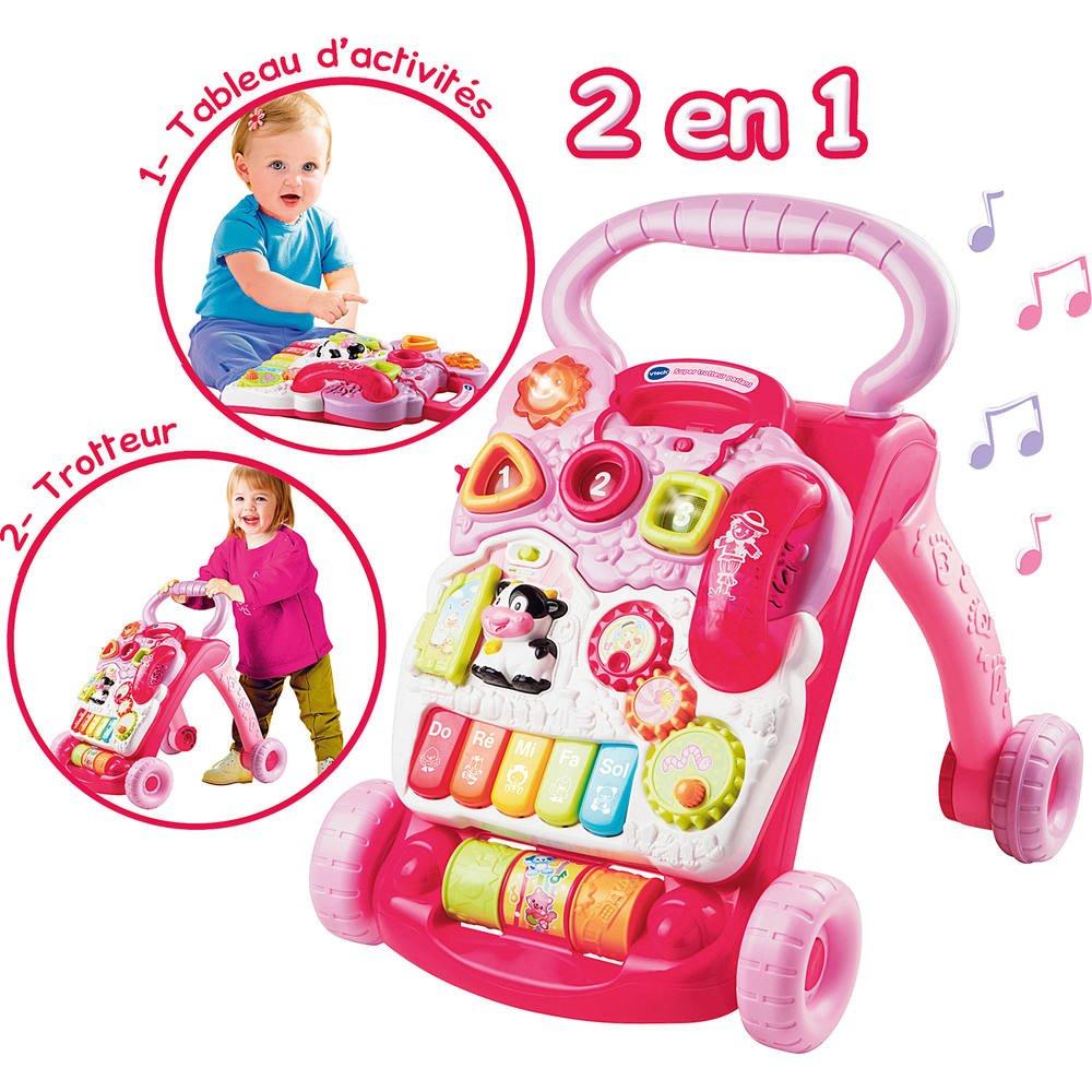 Super trotteur 2 en 1 rose   jouets 1er age
