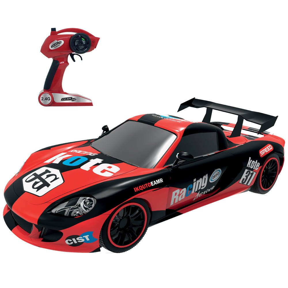 Grande Voiture De Course Rouge Radiocommandee 1 10eme Vehicules Garages Joueclub